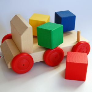 Coloured wooden toys